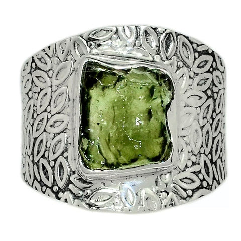 Moldavite Rough Sterling Silver Vine Pattern Band  Ring