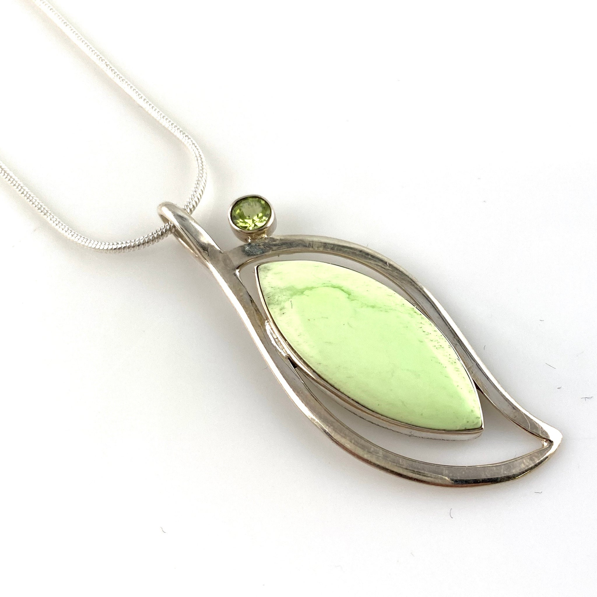 Lemon Chrysoprase Sterling Silver Blooming Jewel Pendant - Keja Designs Jewelry