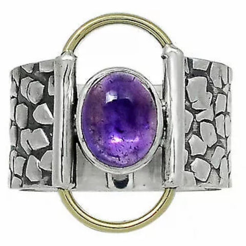 Amethyst Two Tone Sterling Silver Trxtured Ring