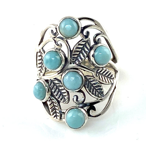 Larimar Sterling Silver Leaf Vine Ring