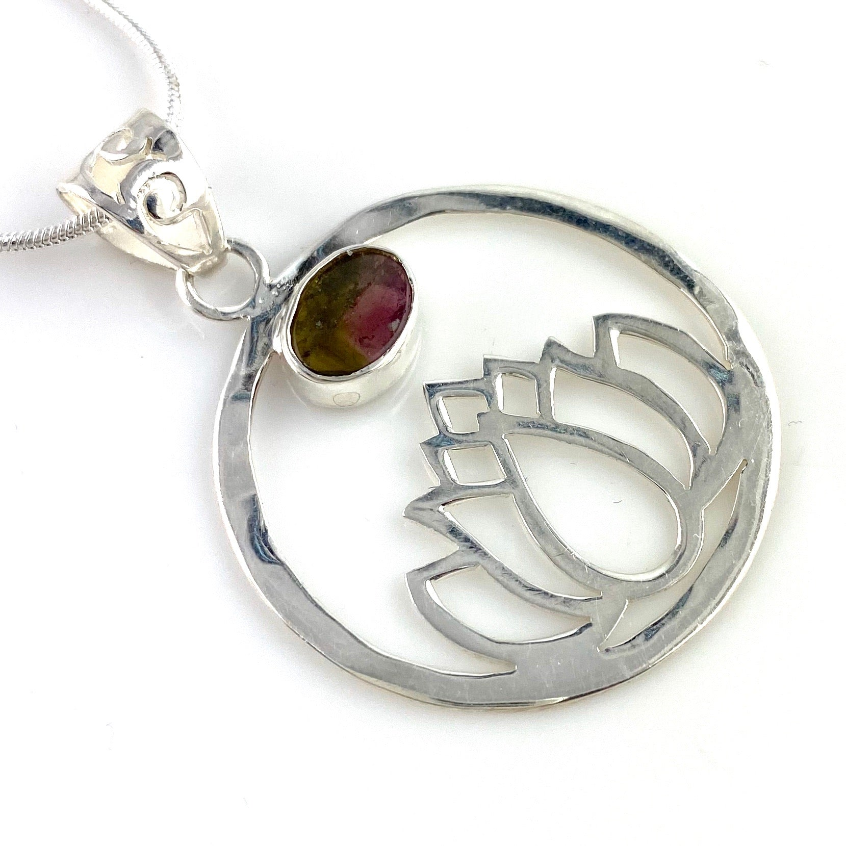 Watermelon Tourmaline Sterling Silver Lotus Pendant - Keja Designs Jewelry