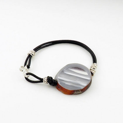 White Agate Leather Bracelet - Keja Designs Jewelry