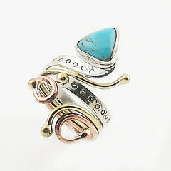Turquoise Fancy Cut Three Tone Sterling Silver Adjustable Ring - Keja Designs Jewelry