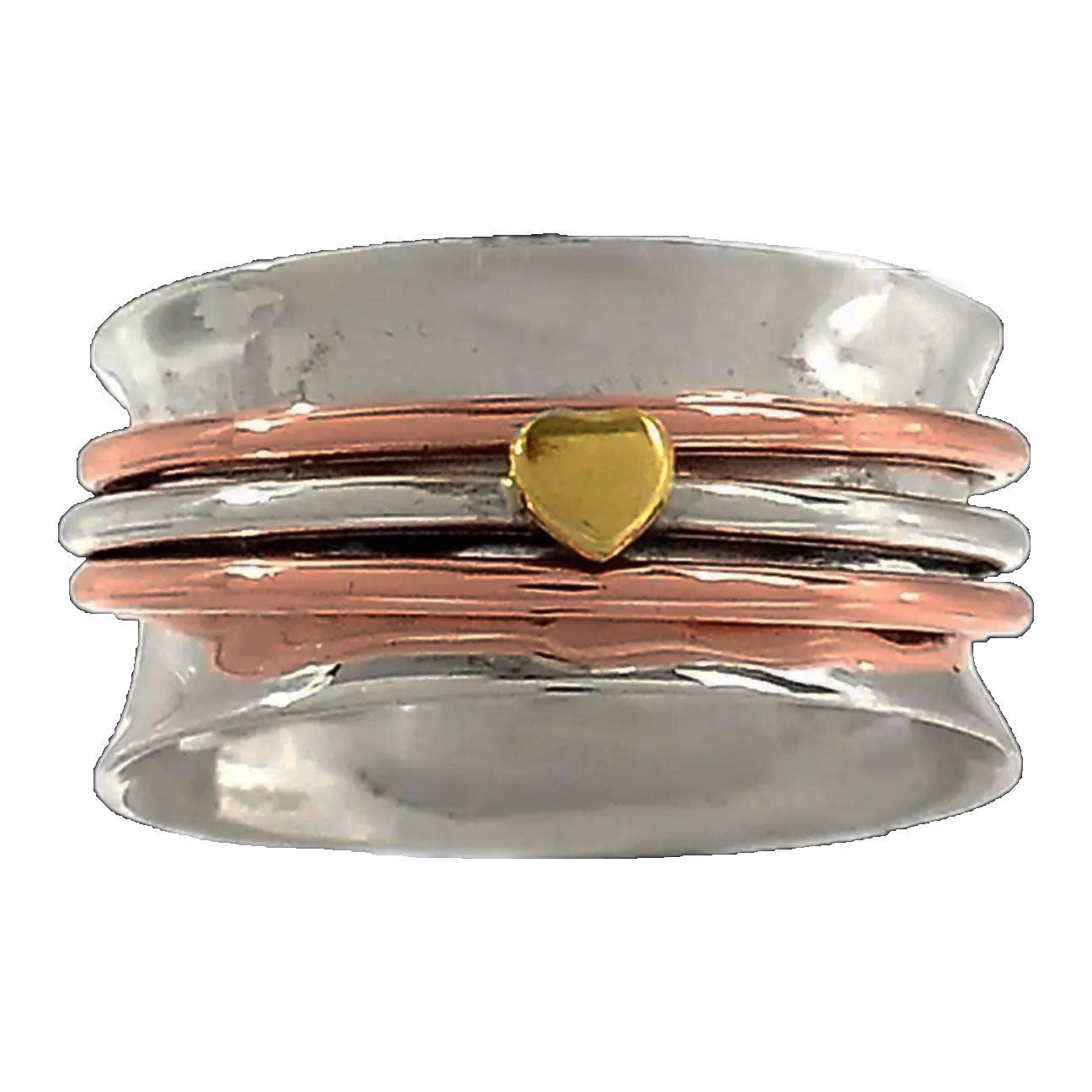Spinner Ring Three Tone Hearts Ring - Keja Designs Jewelry