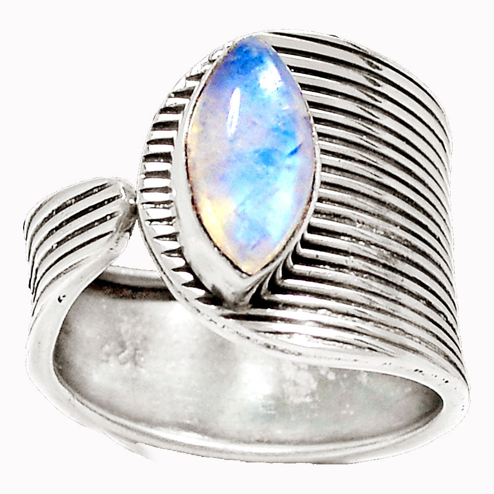 Moonstone Sterling Silver Adjustable Ring - Keja Designs Jewelry