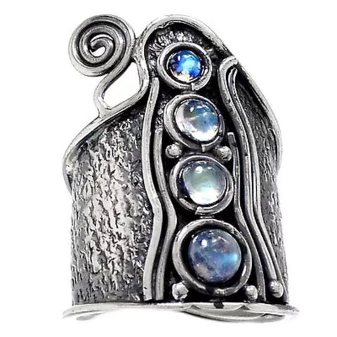Moonstone Sterling Silver Whimsical Band Ring