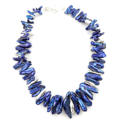 Blue Biwa Pearl and Solid Free Form Pure Silver Necklace - Keja Designs Jewelry