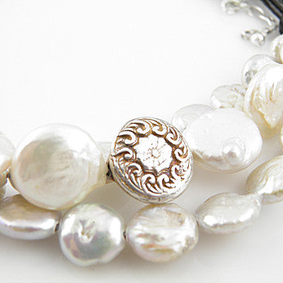 White Coin Pearl Pure Silver Leather Necklace Keja