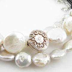 White Coin Pearl Pure SIlver Leather Necklace - Keja Designs Jewelry