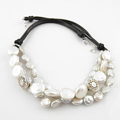 White Coin Pearl Pure SIlver Leather Necklace