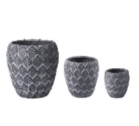 Leafy Pattern Magnesium Planter (Dark Gray)