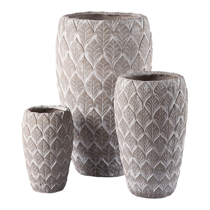 Tall Leafy Pattern Magnesium Planter (Beige)