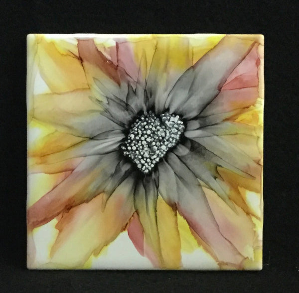 Coaster Set - Red/Yellow Flowers