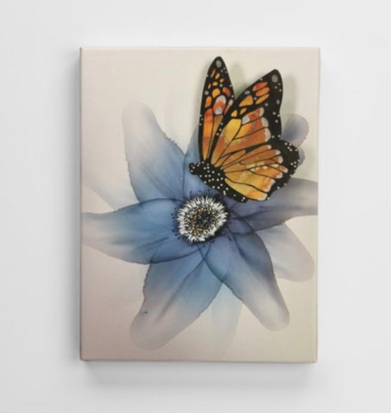 Canvas Print - Blue Flower with Butterfly