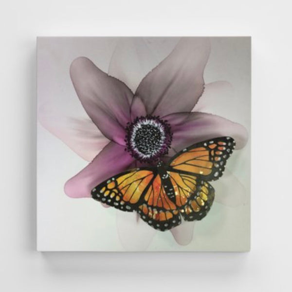 Canvas Print - Plum Flower with Butterfly
