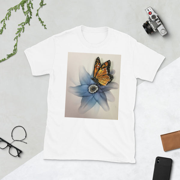 T-Shirt - Blue Flower with Butterfly