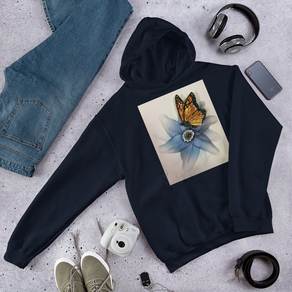 Hoodie - Blue Flower with Butterfly