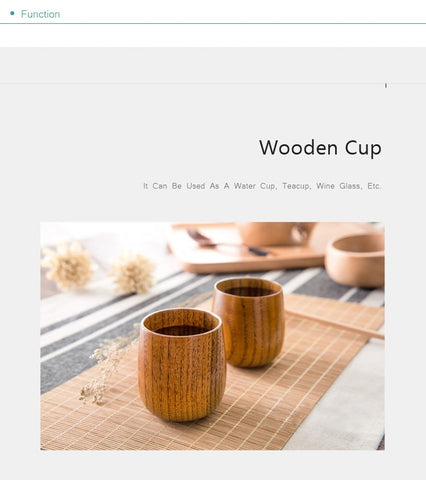 Natural Wooden Cup Reusable Environmental Protection Tea Coffee Milk Wine Cup Heat Insulation Water Cup