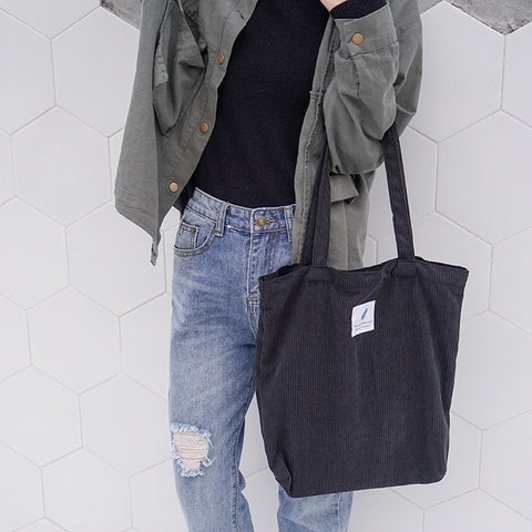 Women Corduroy Shopping Bag Female Canvas Cloth Shoulder Bag  Reusable Foldable Eco Grocery Totes