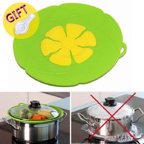 Silicone lid Spill Stopper Cover For Pot Pan Kitchen Accessories Flower Cookware