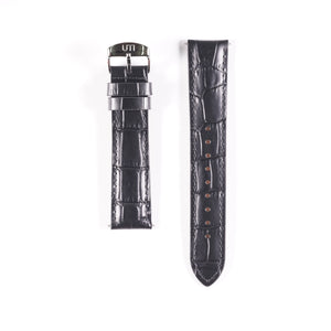 20mm Crocodile Pattern Genuine Leather Black