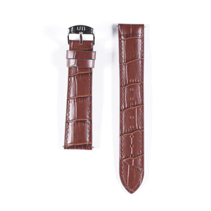20mm Crocodile Pattern Genuine Leather Brown
