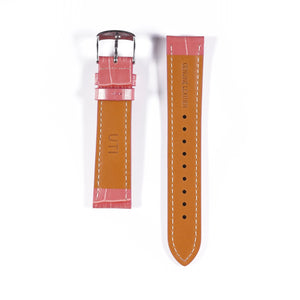 20mm Crocodile Pattern Genuine Leather Pink