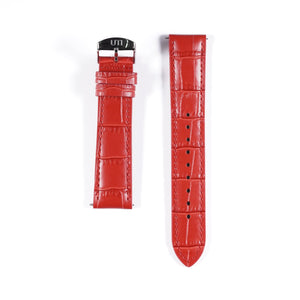 20mm Crocodile Pattern Genuine Leather Red