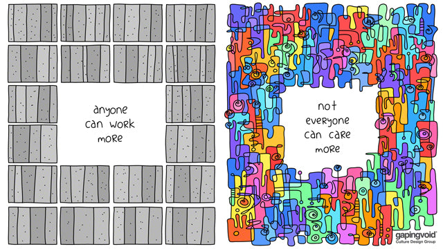 anyone can work more not everyone can care more