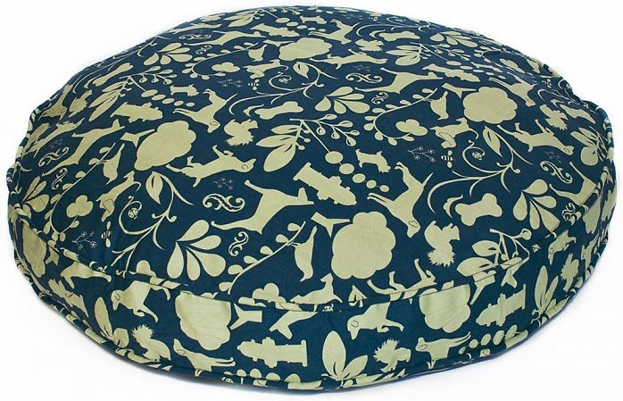 "Molly Mutt - Dog Bed Duvet - Round 36"" - Blue and Green Pattern"