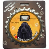 Bottle Ninja - 3 in 1 Coaster/Bottle Opener/ Magnet - Cocker Spaniel, black