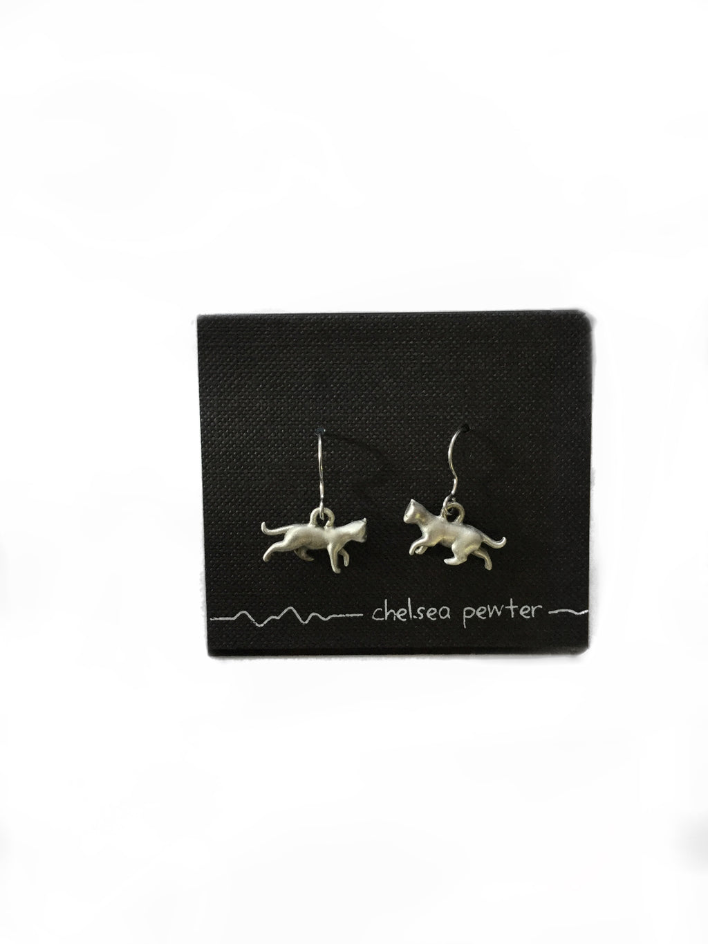 Chelsea Pewter - Cat Walking Earrings