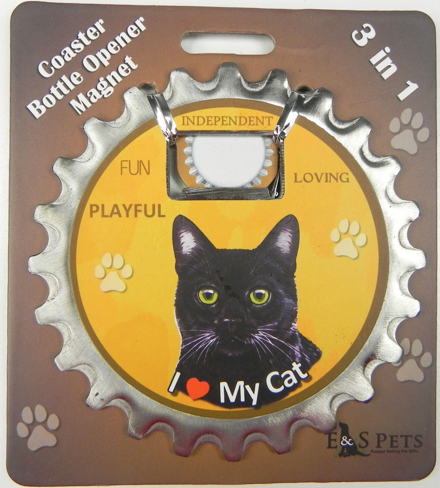 Bottle Ninja - 3 in 1 Coaster/Bottle Opener/ Magnet - Black Cat