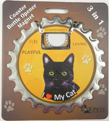 Bottle Ninja - 3 in 1 Magnets - Black Cat