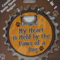 Bottle Ninja - 3 in 1 Magnet - My heart is held by the paws of a dog