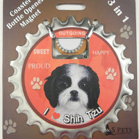 Bottle Ninja - 3 in 1 Magnets - Shih Tzu (black and white pup)