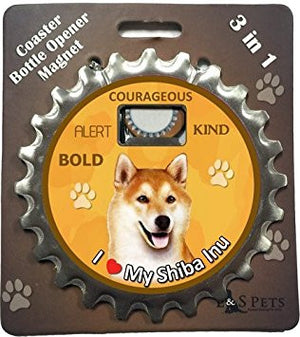 Bottle Ninja - 3 in 1 Coaster/Bottle Opener/ Magnet - Shiba Inu