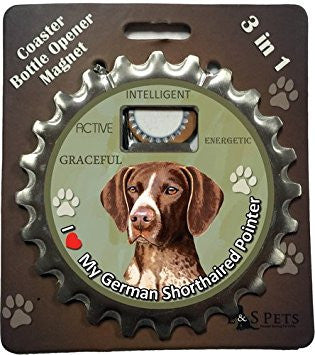 Bottle Ninja - 3 in 1 Coaster/Bottle Opener/ Magnet - German Shorthaired Pointer
