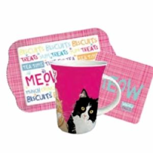waggy tails meow cat tea time gift set