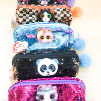 TY beanie sequin pencil cases