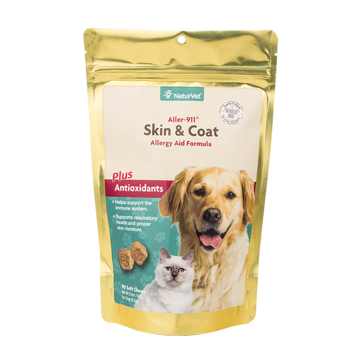 naturvet aller 911 skin and coat soft chews for dogs and cats