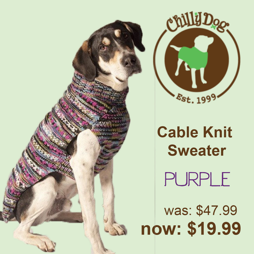Chilly Dog Cable Knit Purple Sweater SALE