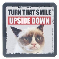 "Grumpy Cat Magnet 3"" W. x 3"" H - ""Turn That Smile Upside Down"""