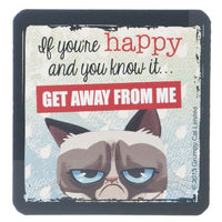 "Grumpy Cat Magnet 3"" W. x 3"" H - ""If You're Happy And You Know It"""