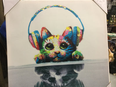 Art Cat with Headphones