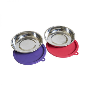 Messy Cats - 4pc Box Set (2 Stainless Steel Bowl & 2 Silicone Lids) NEW