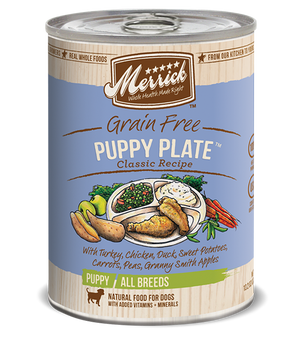 merrick wet dog food puppy plate grain free