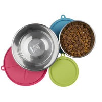 Messy Mutts - 6pc Box Sets (3 Stainless Steel Bowls & 3 Silicone Lids) NEW