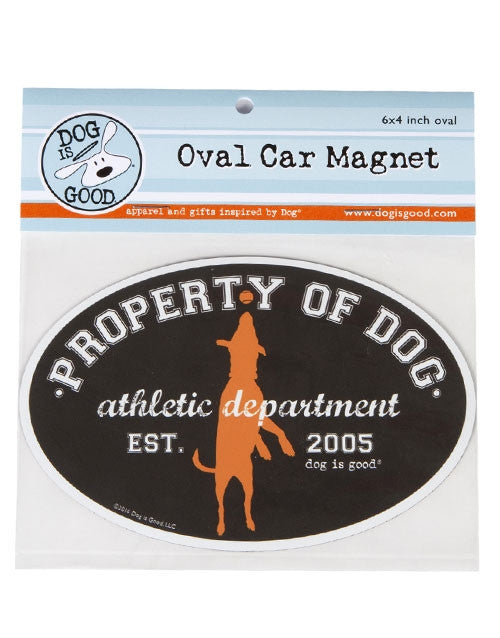 Dog Is Good-Oval Car Magnet-Property of Dog