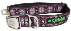 Cycle Dog Grey Red Kaleidoscope Collar